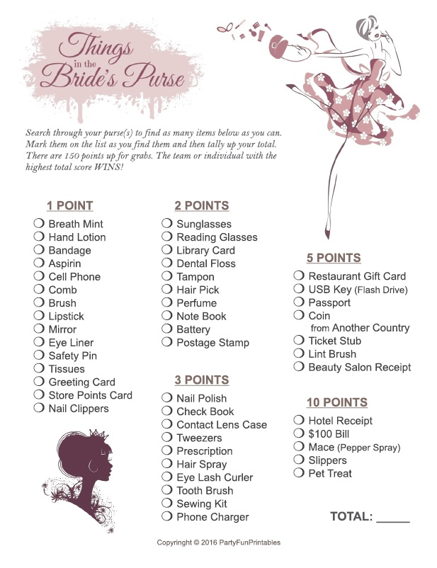 Bridal Shower Purse Scavenger Hunt