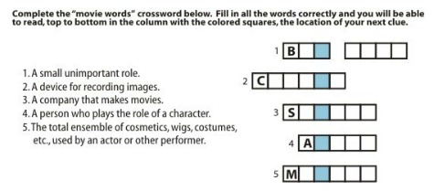 crossword puzzle scavenger hunt clue