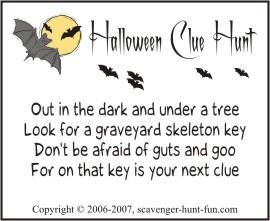 halloween clue hunt clues