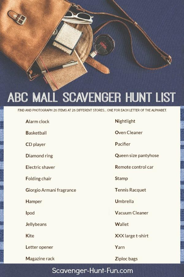 ABC Mall Scavenger Hunt List