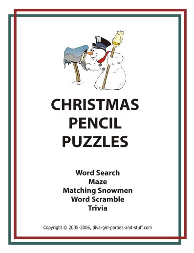 Printable Christmas Pencil Puzzles