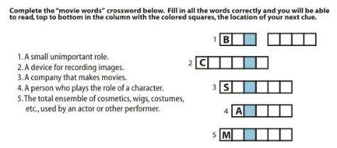 crossword puzzle scavenger hunt clue