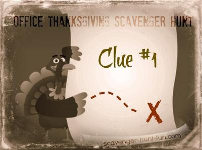 Office Thanksgiving Scavenger Hunt Clue